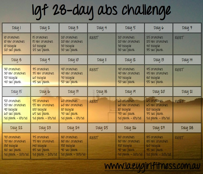 Wrap Up of the LGF 28-Day Abs Challenge - Lazy Girl Fitness